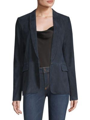 Alice And Olivia Nancy Shawl Collar Suede Blazer In Navy