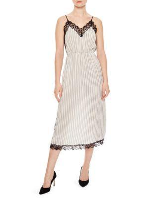 Sandro Pitt Striped Lace-trimmed Midi Dress In Beige