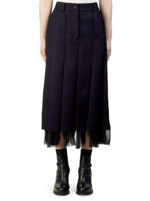 Sacai Melton Pleated Midi Skirt In Navy-black