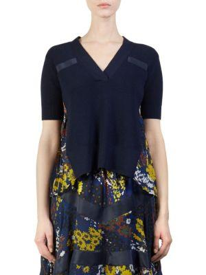 Sacai Wool Knit Floral Pullover Top In Navy