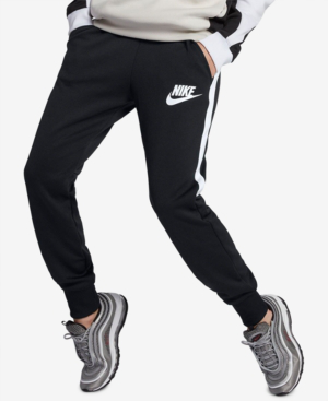 e1144599154f1 Nike Side-Stripe Drawstring Jogger Sweatpants In Black/White   ModeSens