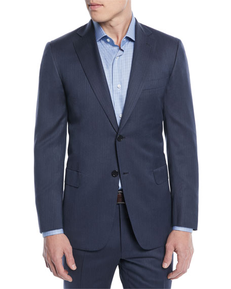 Brioni Men's Tonal Stripe Wool-Silk Two-Piece Suit In Blue