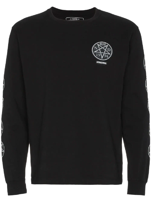 Neighborhood The Dead Star Print Cotton Long Sleeve T Shirt In Black