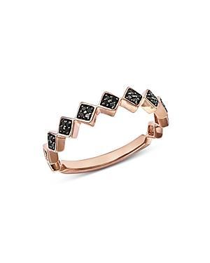 Bloomingdale's Black Diamond Geometric Stacking Ring In 14k Rose Gold, 0.10 Ct. T.w. - 100% Exclusive In Black/rose