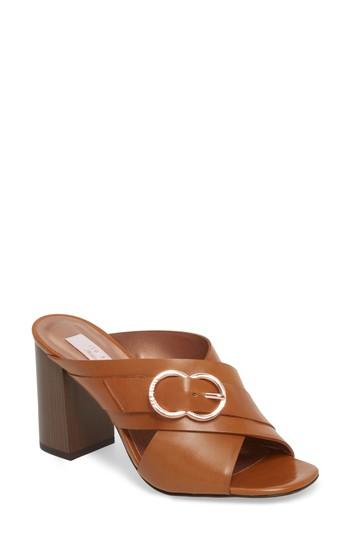 Ted Baker Maladas Slide Sandal In Tan Leather