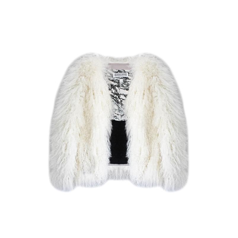 Florence Bridge Matilda Mongolian Lambswool Jacket (creamy Cloud)