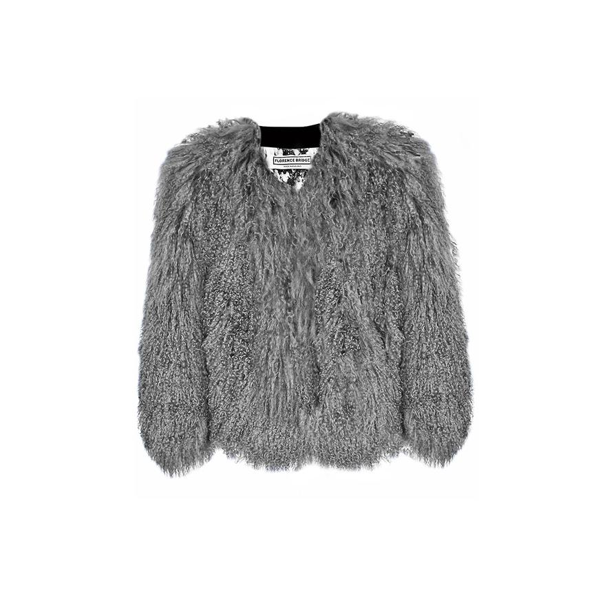 Florence Bridge Matilda Mongolian Lambswool Jacket Grey