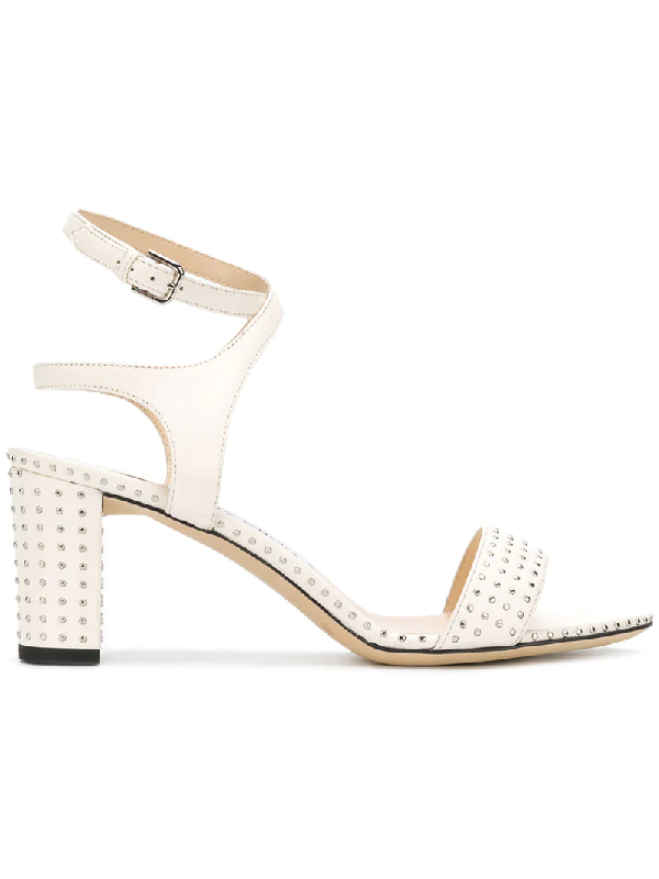 Jimmy Choo Marine 65 Leather Studded Sandals In White