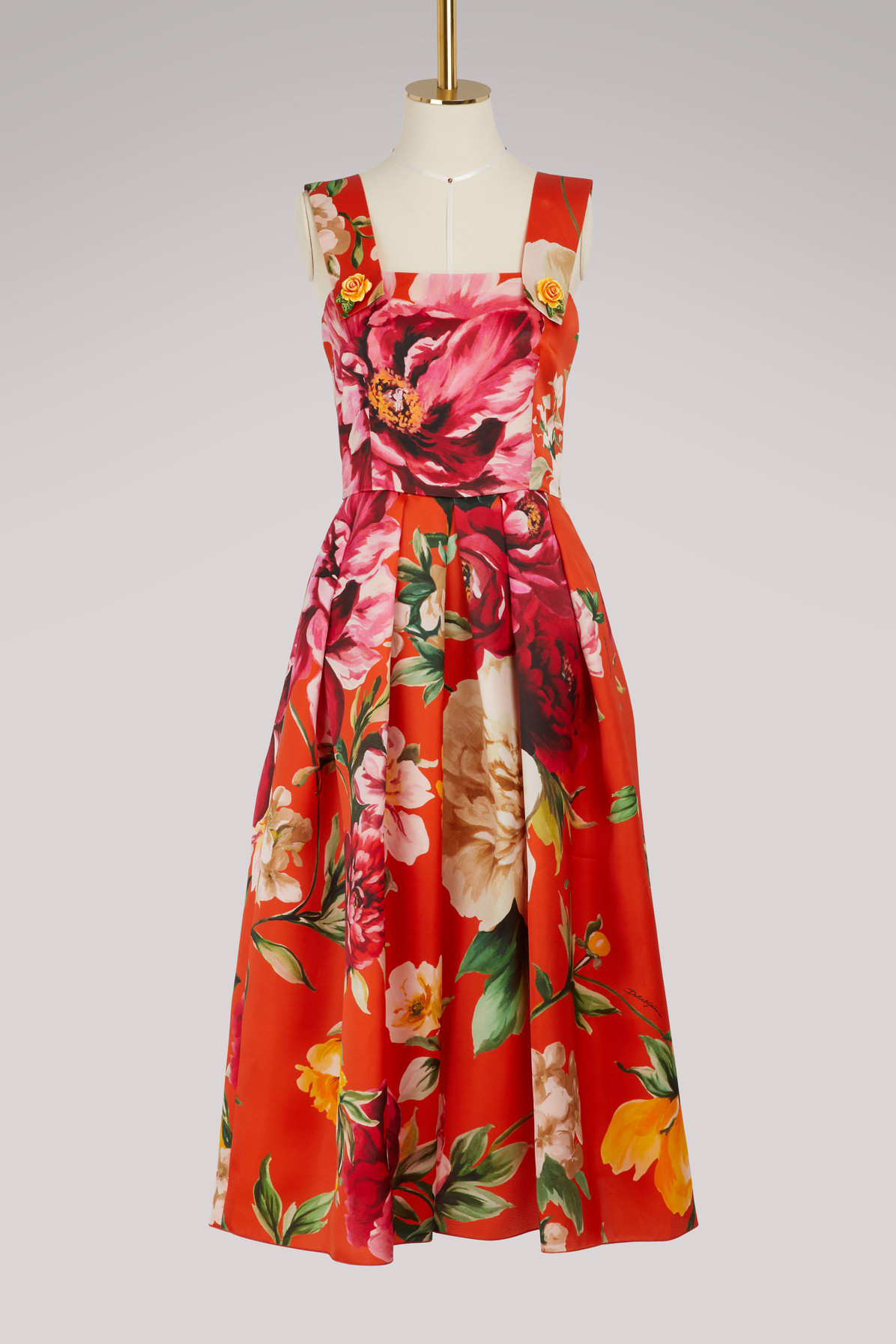 Dolce & Gabbana Flowers Maxi Dress In Orange