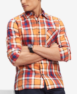 Tommy Hilfiger Men's Samson Classic-Fit Plaid Shirt, Created For Macy's In Russet Orange