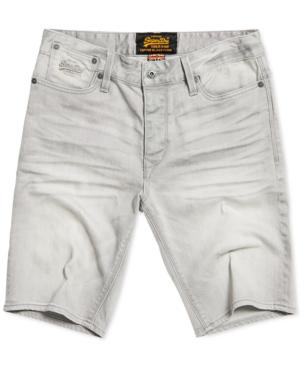 Superdry Men's Denim Biker Shorts In Vista Grey