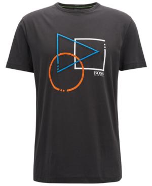 Hugo Boss Boss Men's Regular/classic-fit Cotton Graphic T-shirt In Black