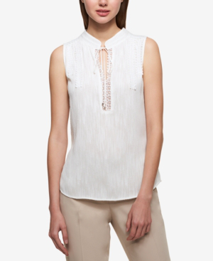 Tommy Hilfiger Tie-neck Lace-trim Shell In White