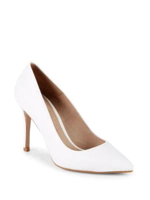 Saks Fifth Avenue Classic Leather Point Toe Pumps In White