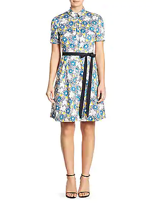Carolina Herrera Daisy Button Front Dress In Bright Blue