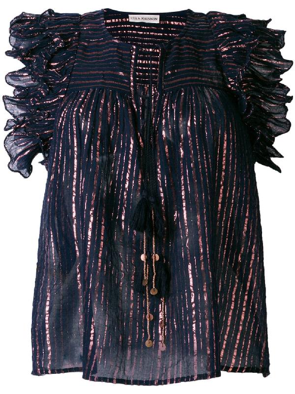 Ulla Johnson Metallic Stripe Blouse With Frill Trim
