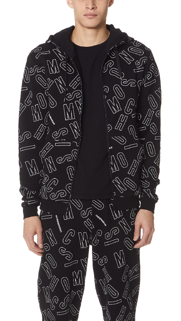 Moschino Allover Print Hoodie In Black