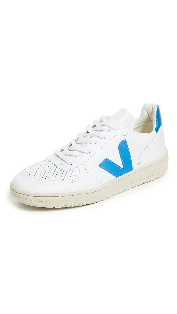 Veja V 10 Leather Sneakers In Extra White/swedish Blue