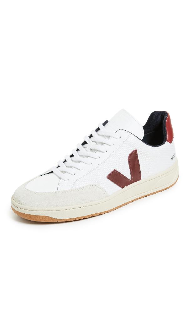 Veja V 12 B Mesh Sneakers In White/marsala