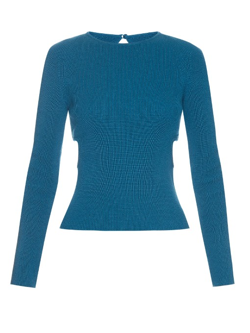 Emilia Wickstead Heidi Cut-out Sides Ribbed-knit Sweater