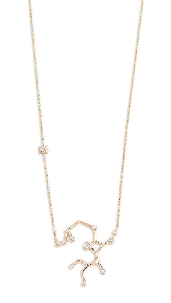 Lulu Frost 14k Gold Sagittarius Necklace With White Diamonds