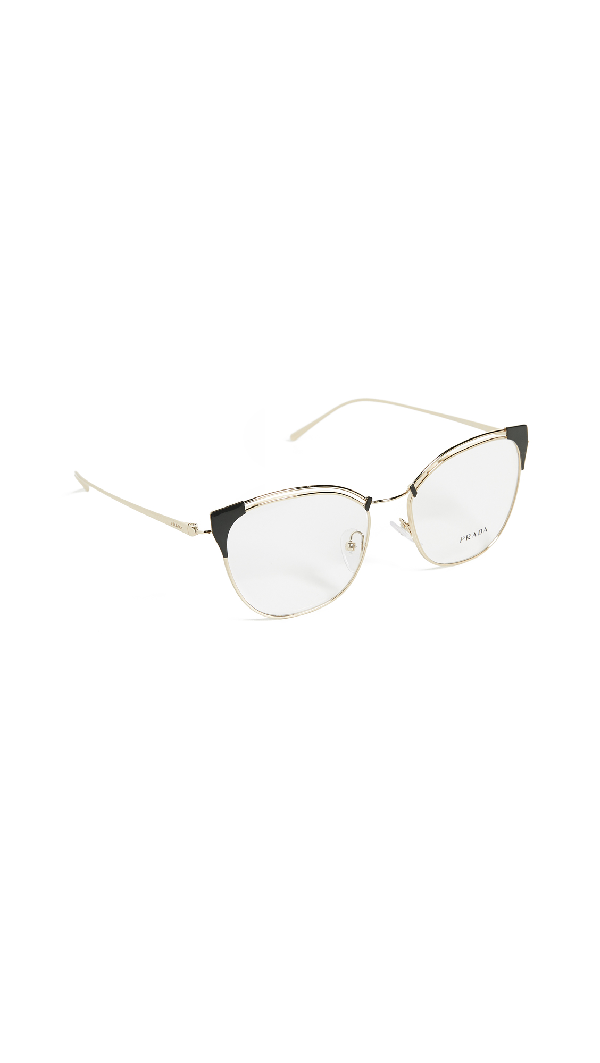 Prada Cat Eye Metal Glasses In Grey Gold/clear