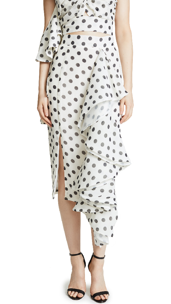 f961909777 Stylekeepers Chiffon Love Affair Skirt In White With Black Dots ...
