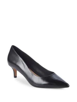 Saks Fifth Avenue Leather Kitten Heel Pumps In Black