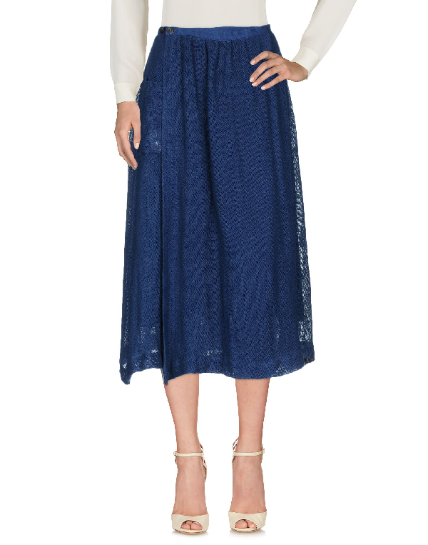 Blue Blue Japan 3/4 Length Skirts In Dark Blue