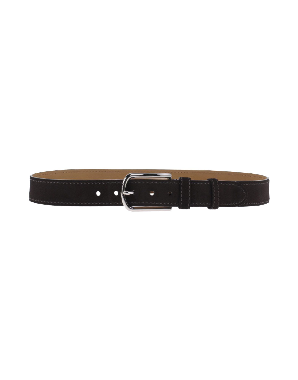 Prada Leather Belt In Dark Brown