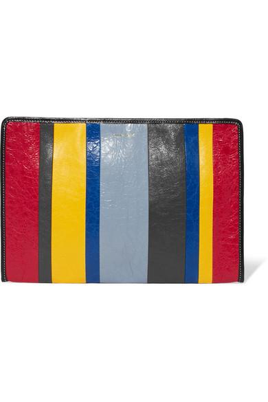 Balenciaga Bazar Striped Textured-leather Pouch