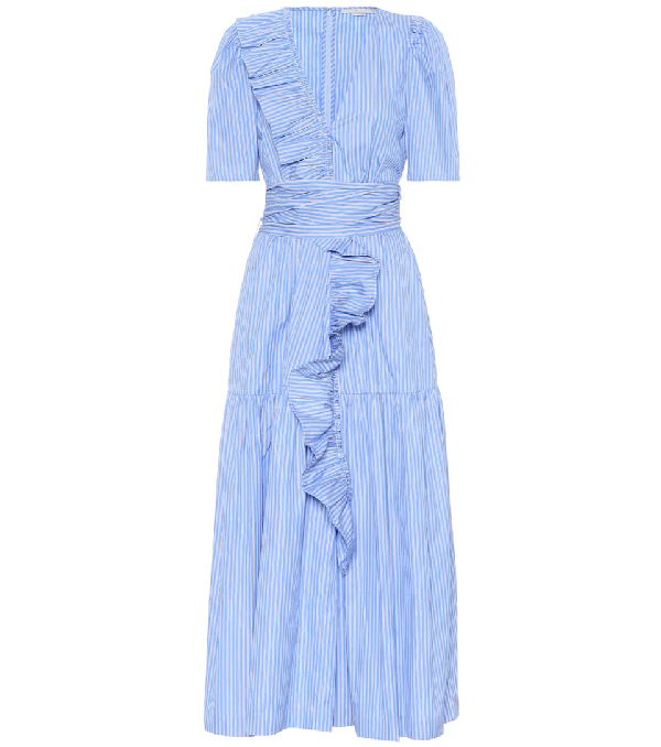 Stella Mccartney Striped Cotton Dress In Blue