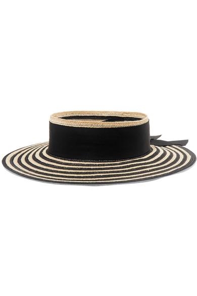 Eugenia Kim Lettie Grosgrain-trimmed Striped Straw Boater In Black