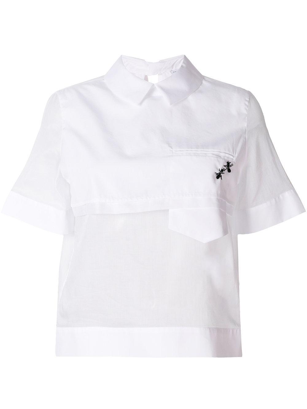 Ermanno Scervino Asymmetric Ants Embellished Blouse - White