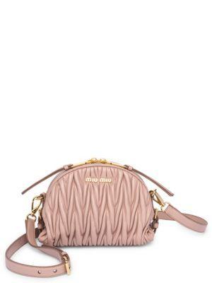 Miu Miu Metelasse Leather Crossbody Bag In Cammeo