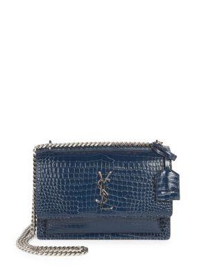 915d763af82 Saint Laurent Medium Sunset Monogram Croc-Embossed Leather Chain Shoulder  Bag In Navy