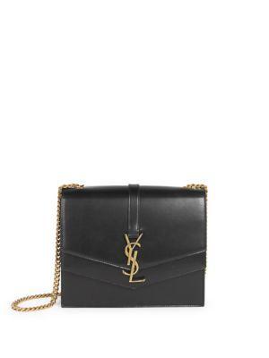 Saint Laurent Montaigne Double Flap Leather Shoulder Bag In Black