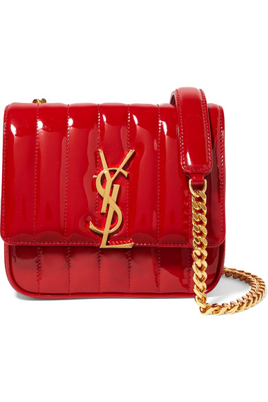 Saint Laurent Vicky Monogram Ysl Small Quilted Patent Leather Crossbody Bag  In Red f22bb69270910