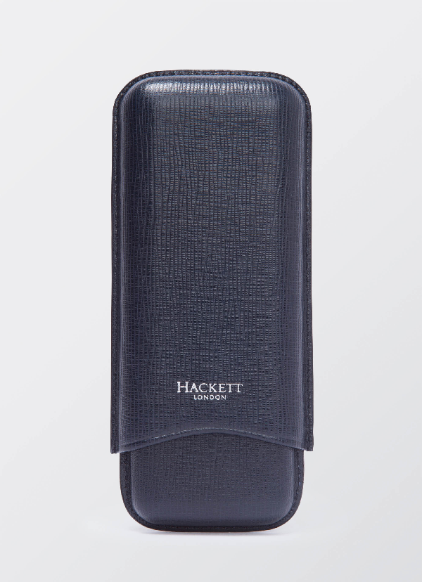 Hackett Curzon Leahter Cigar Case In Navy
