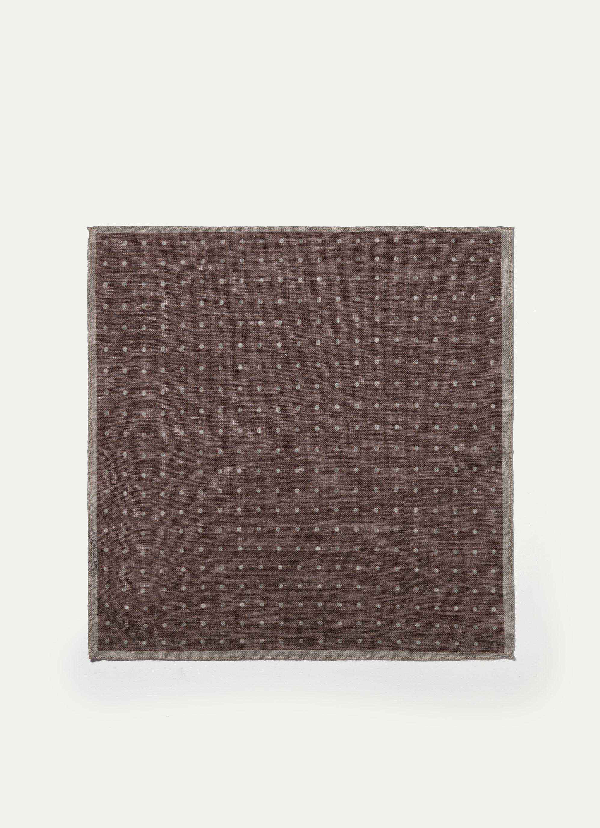Hackett Patterned Linen And Cotton-blend Pocket Square In Neutrals