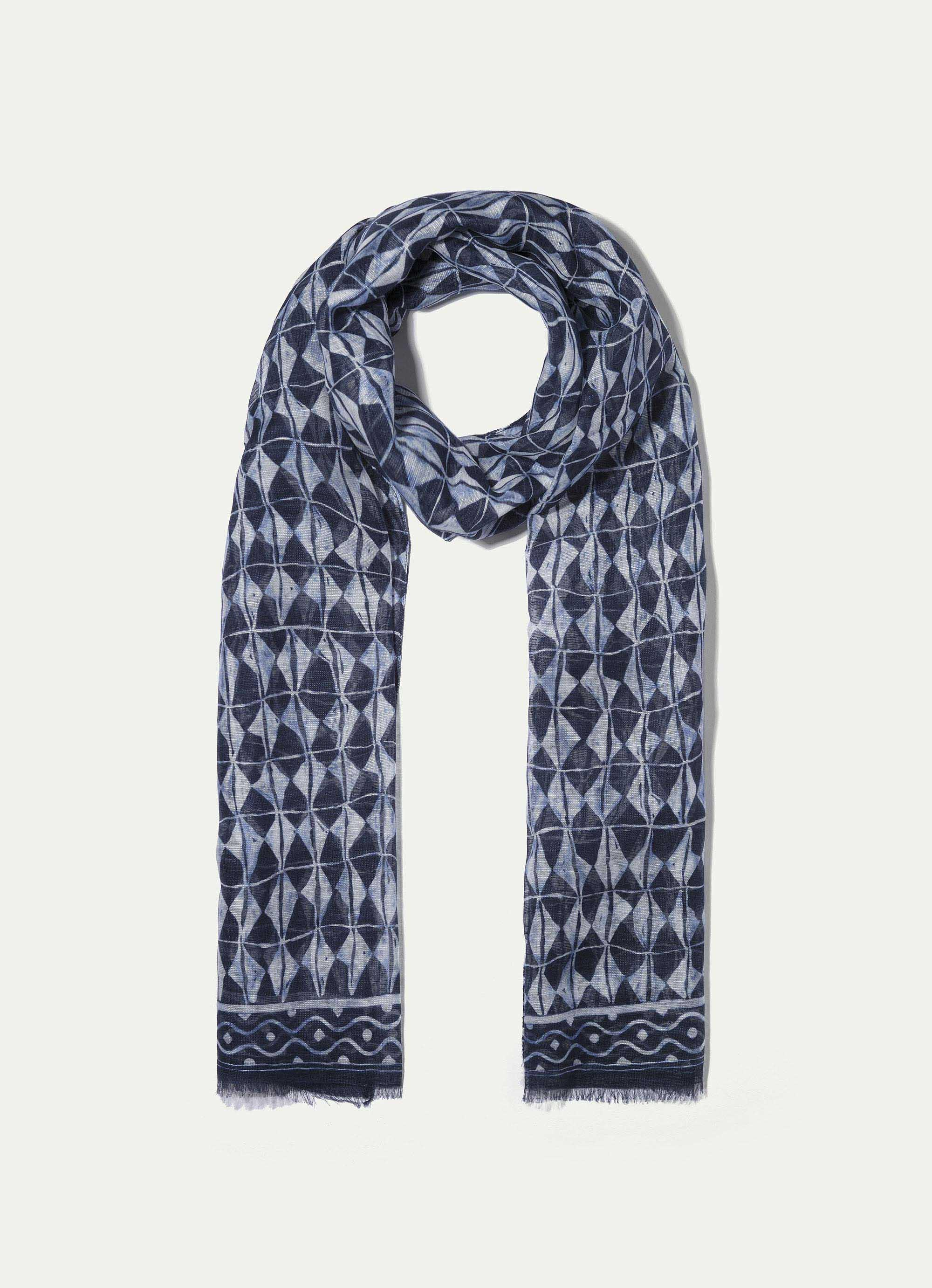 Hackett Patterned Cotton And Linen-blend Scarf In Navy/white