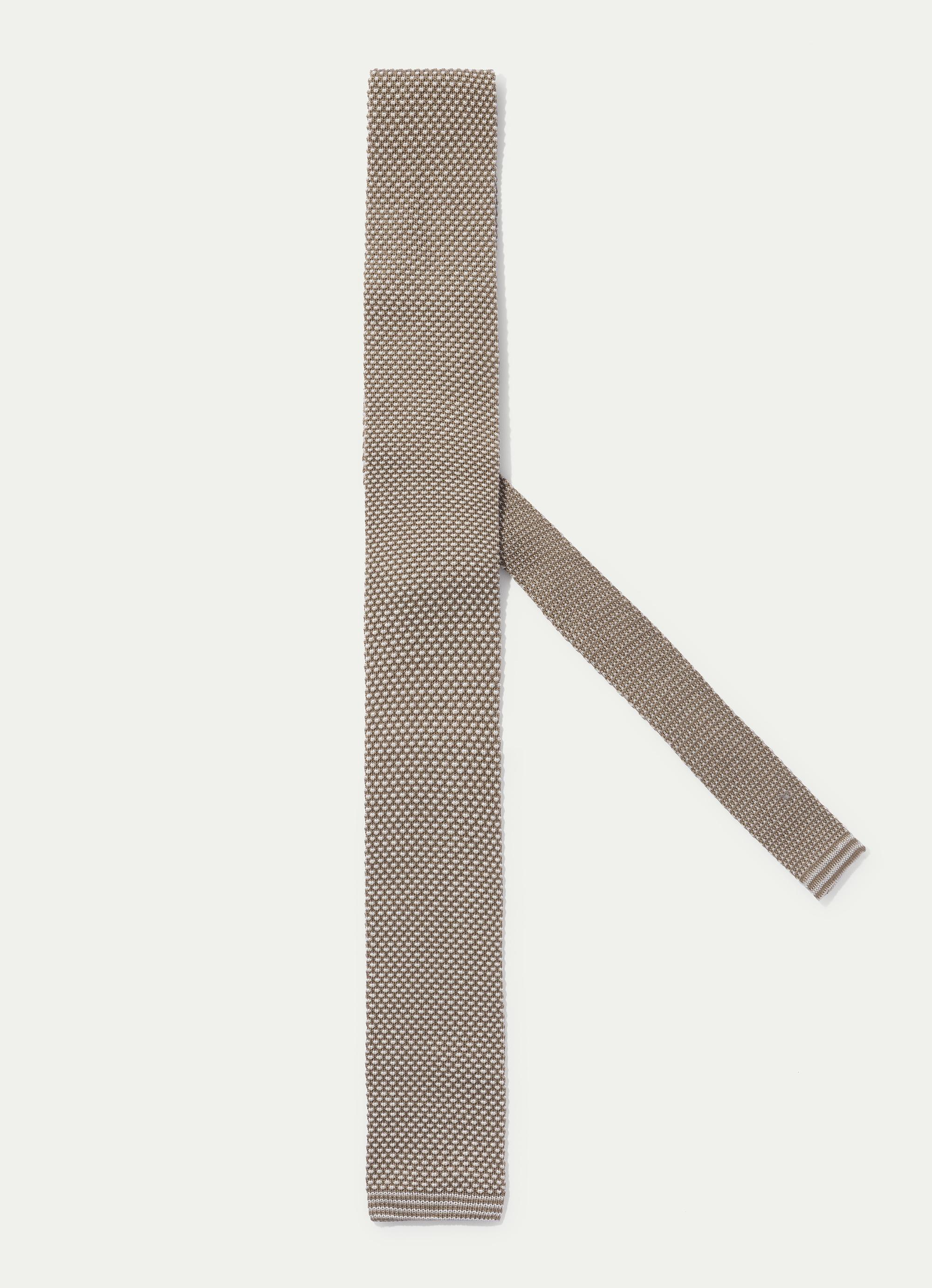 Hackett Knitted Three Tone Tie In Camel