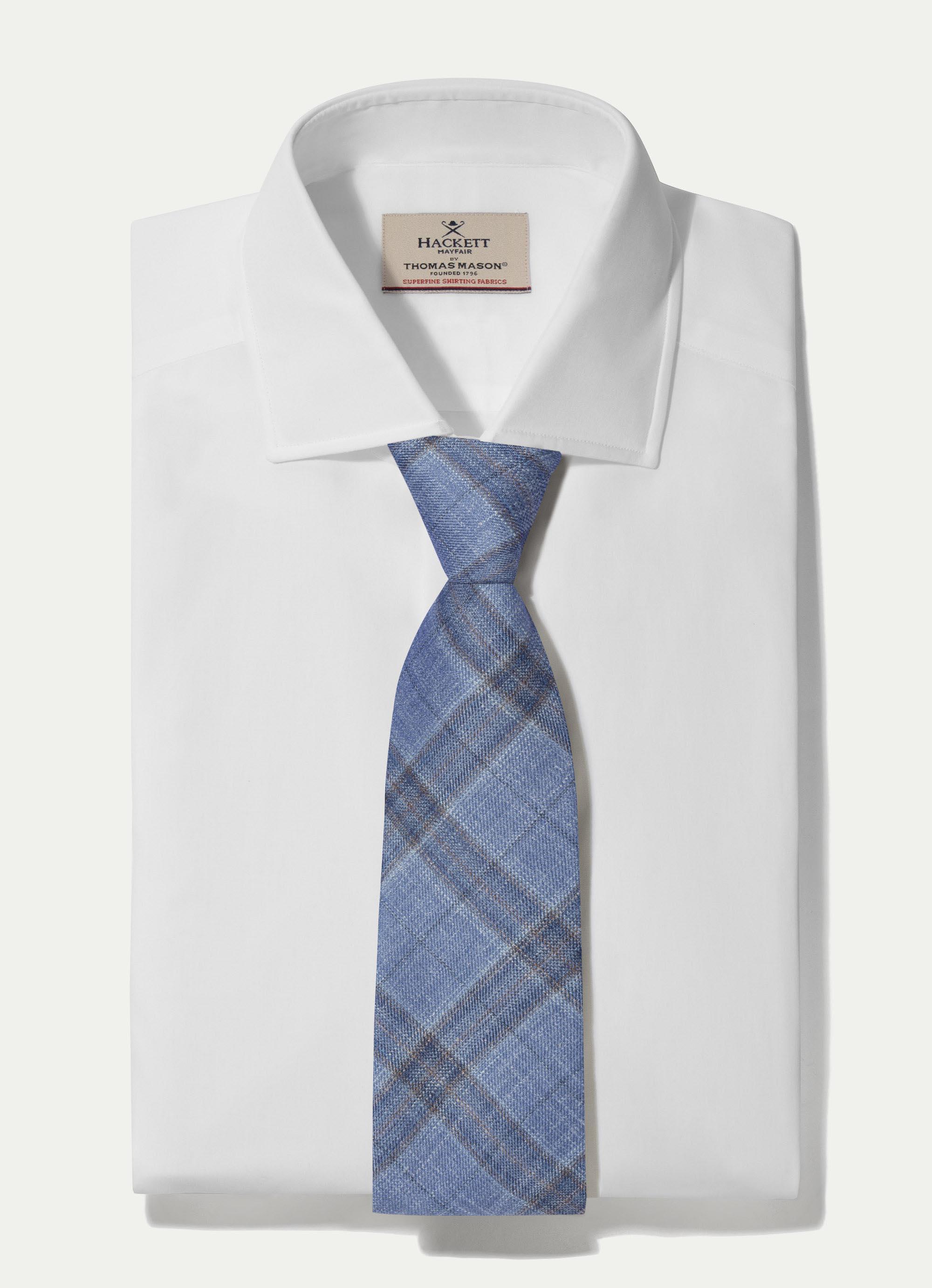 Hackett Plain Check Wool Silk Linen Tie In Blue/multi