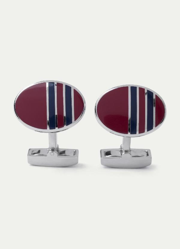 Hackett Striped Oar-shaped Cufflinks In Red/navy