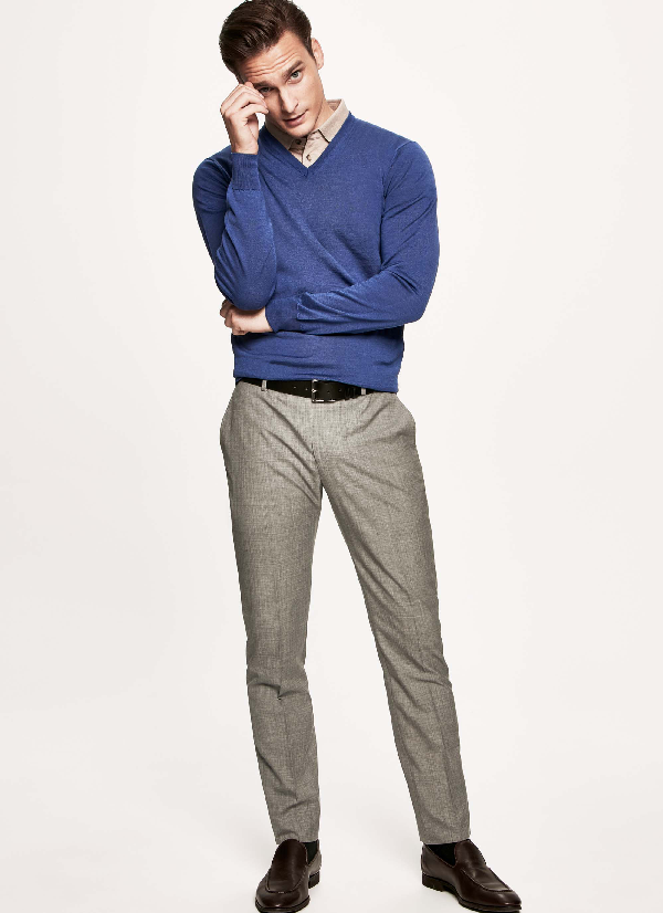 Hackett Wool Trousers In Middle Blue