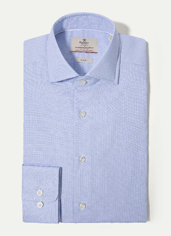 Hackett The Journey Puppytooth Shirt In Sky/white
