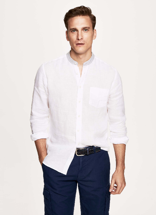 Hackett Contrast Linen Shirt In White