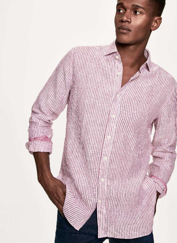 Hackett Striped Linen Shirt In Berry