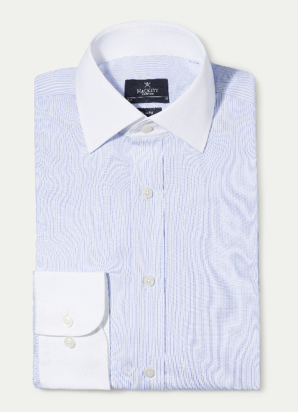Hackett Striped Cotton Blazer Shirt In Blue/white