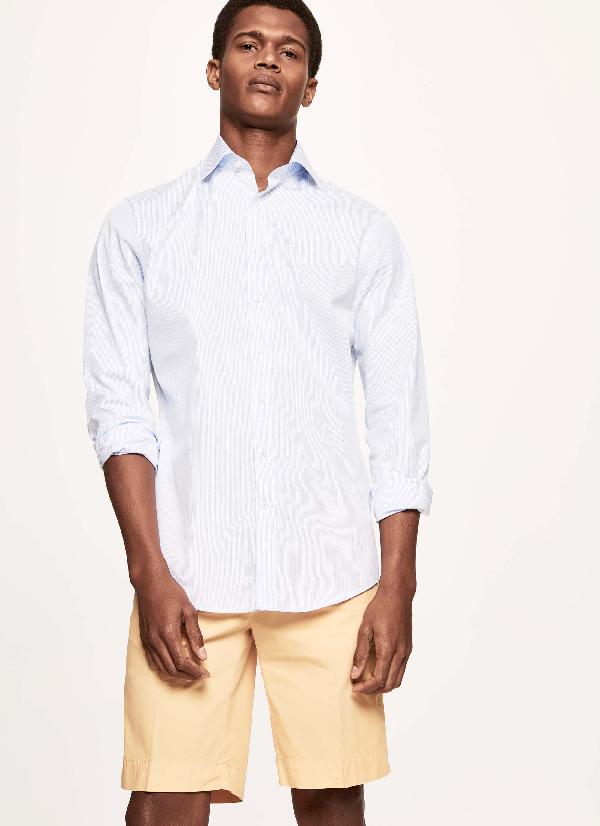 Hackett Striped Cotton Blazer Shirt In Blue/white